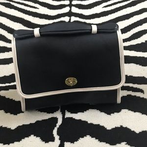 Vintage Coach Navy & Cream Mini Top Handle Bag